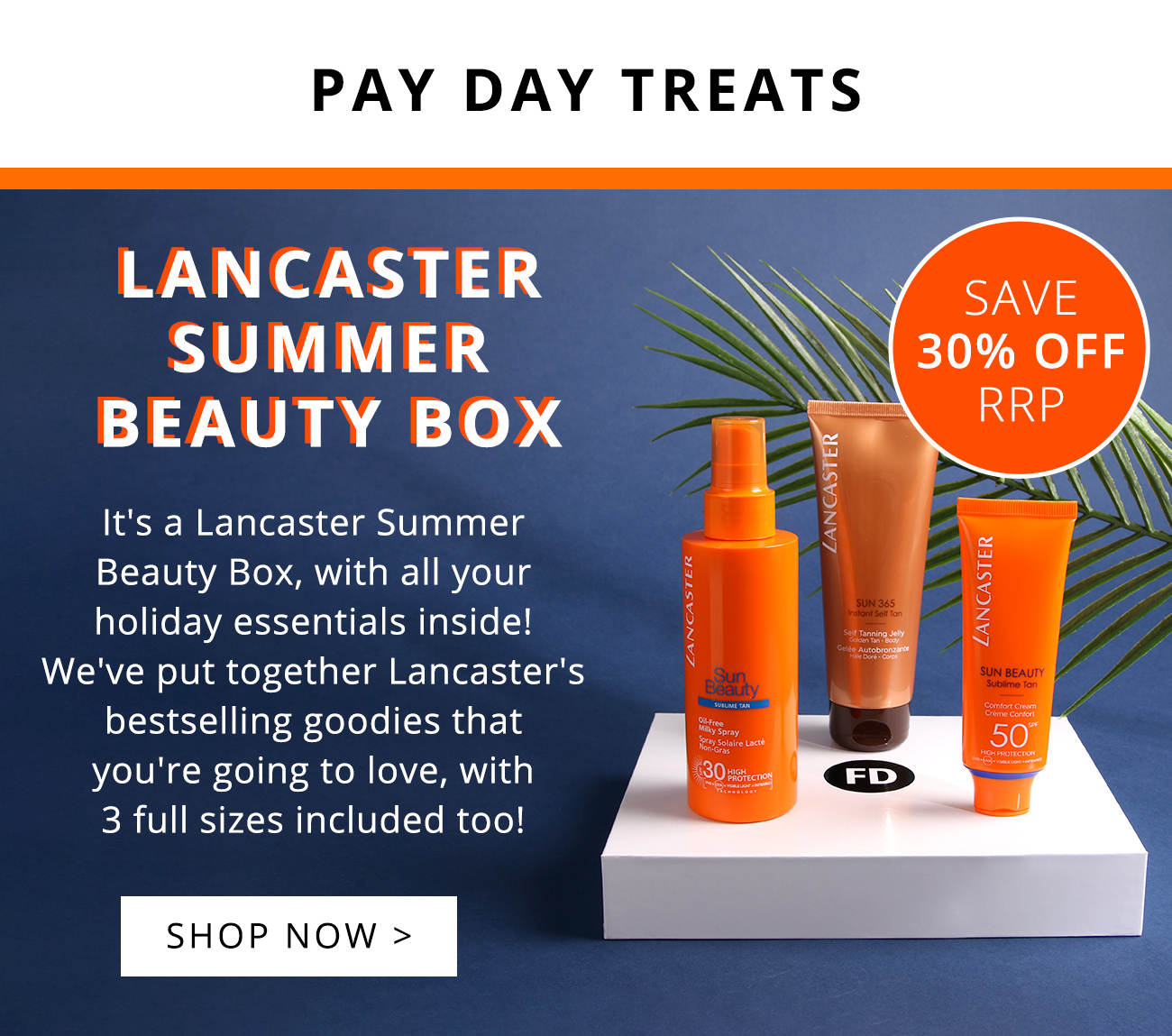 Lancaster summer beauty box. Save 30% off RRP